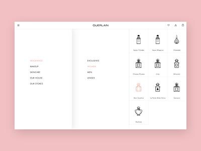 Guerlain - Navigation navigation menu iconography e-comerce ui luxury layout fragrance design branding