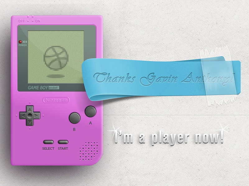 Thanks debut invite thank you pink blue gameboy thanks