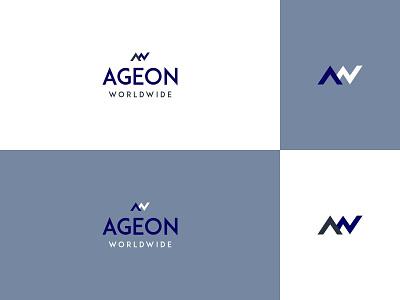 Ageon Worldwide Brand Identity Logo Design minimal flat 2d clean blue brand identity logo design mockup print designer branding ui dribbble vector graphic logotype logo free download free design