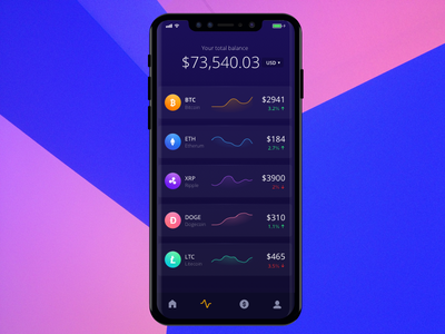 Cryptocurrency App gradient app dark ui shares investment trade currency money etherum wallet bitcoin cryptocurrency