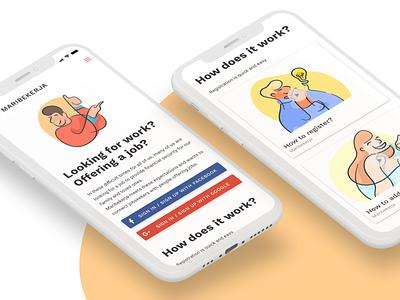 Maribekerja Homepage job board job search job homepage mobile design illustration figma ui design mobile