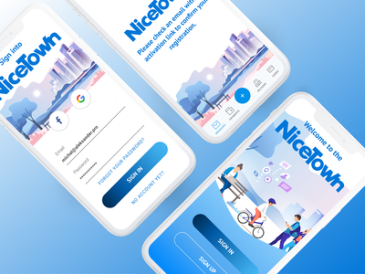 Welcome to the Nice Town smart city sign in sign up bills payments ecology eco illustration ui mobile design mobile figma design