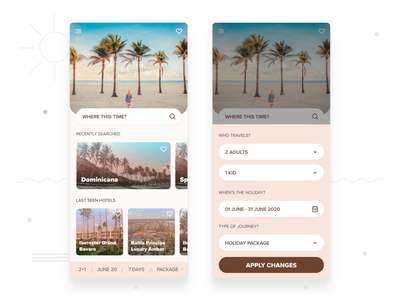 Travel App   Home holiday design traveling mobile app design mobile app mobile ui ios travel app travel search holidays beach mobile ui figma design