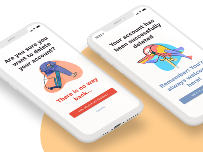 Maribekerja Illustrations delete remove job parrot airport travel illustration holiday mobile design mobile ui figma design