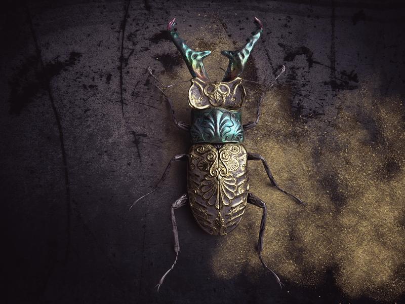 Insekt zbrush art metal gold 3d render render substance painter substancepainter painter design 3d art 3d sculpting insekt zbrush