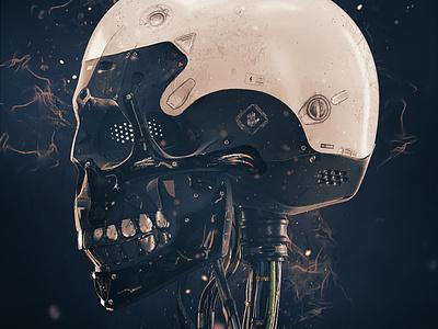 Mech cyborg skull podwysocki pd cyborg mech render 3d artist 3d art 3d