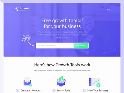 Landing Page for GrowthTools landing page download install statistics saas tool business growth design purple blue web