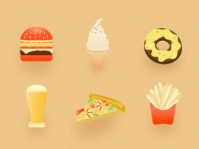 Food bubble prawn shrimp icon illustration burger donut ice cream chips beer pizza food