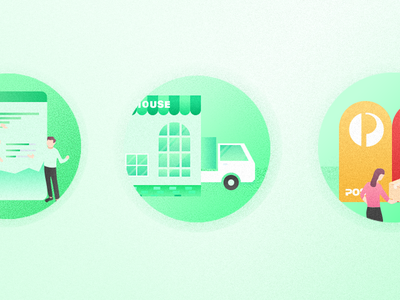 Ecommerce platform graph statistic car woo commerce package data green post ecommerce warehouse icon