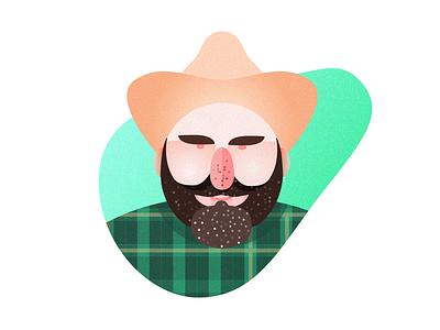 Avatar of Farmer texture portrait character avatar green farmer illustration icon