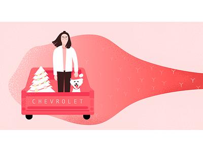 Merry Christmas truck girl christmas xmas illustration