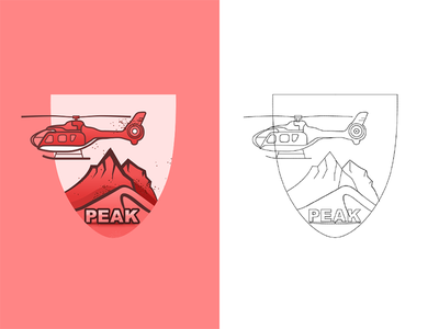 Mountain rock helicopter mountian grand canyon illustration