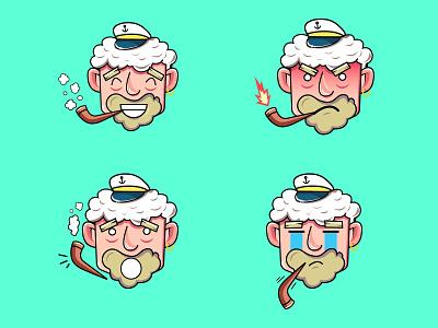 Sailor Emojis sun sea sailor web web design graphic design ui illustrator illustration art art illustration