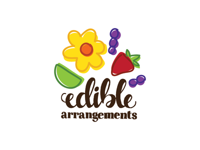 Edible Arrangements Logo Rebranding logo hand lettering typography fruit edible arrangements illustration