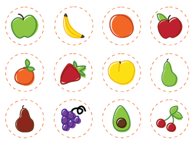 Fruit Icons fruit edible arrangements illustration icons