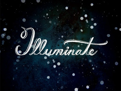 Illuminate hand lettering typography stars illuminate night twinkle type