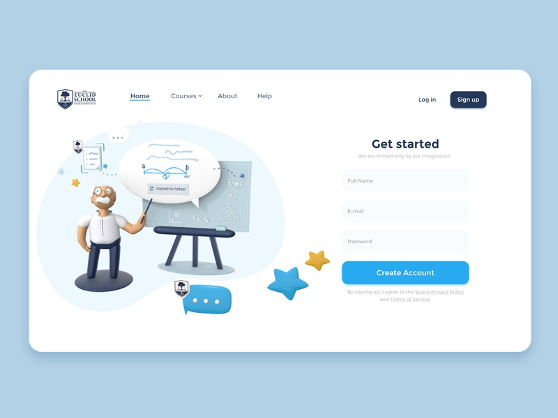 Euclid School ■ Landing Page education teacher 3d art website webdesign hero design school landingpage illustrations 3d 2d ux ui branding illustration
