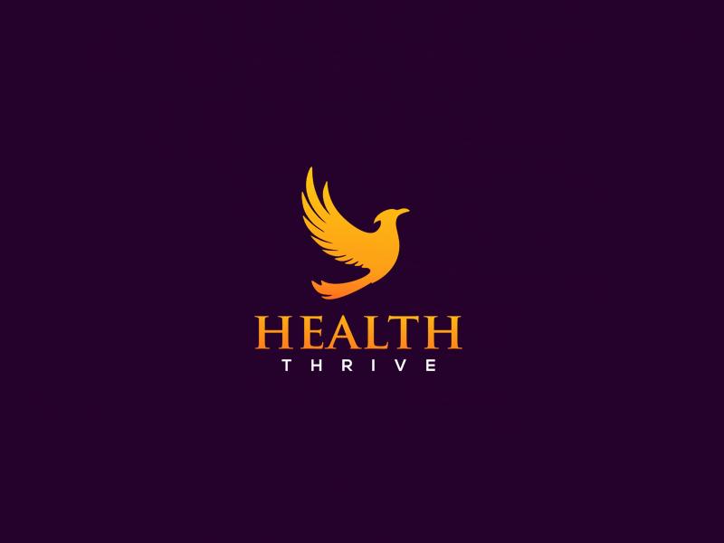 Health_thrive - Logo design logo mark purple phoenix orange fire fenix bird