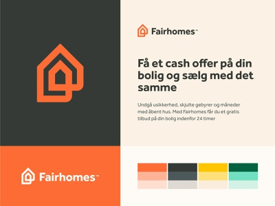 Fairhomes brand design brand friendly smart door fair real estate logo deal tag price branding logo house home