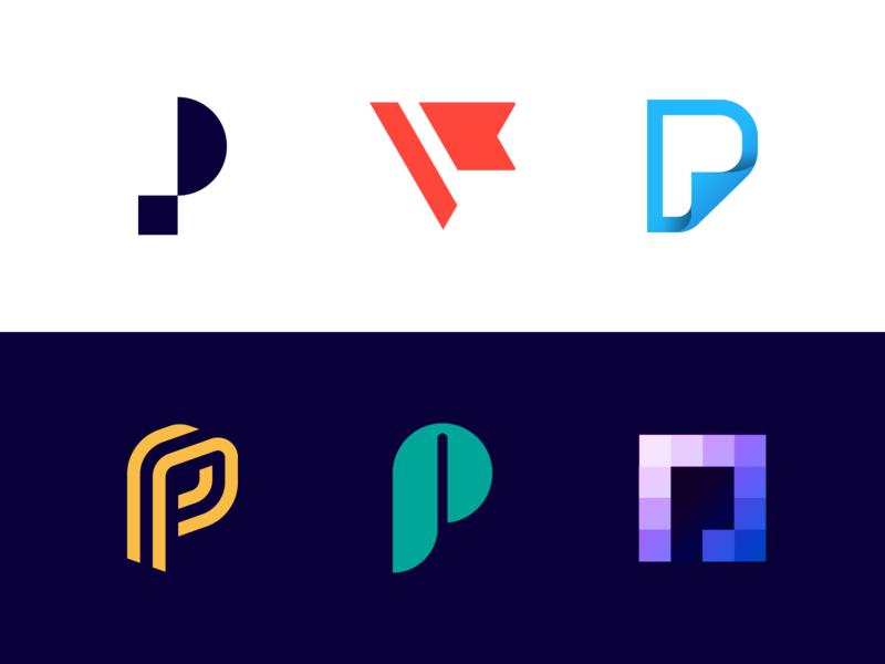 Logo Alphabet - P Lettermarks symbol icon monogram mark logo design brand minimal abstract p letter monograms stratup icons design branding logo