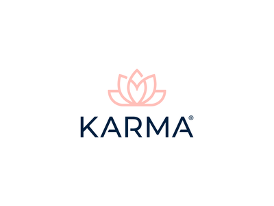 Karma boutique logo flower heart lotus brand fashion karma icon identity mark minimal design branding logo