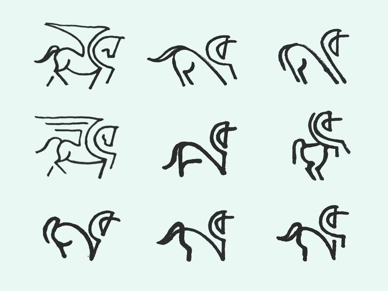 Unicorn Sketches symbol logo design mythology horse sketches unicorn animal brand design minimal icon branding logo