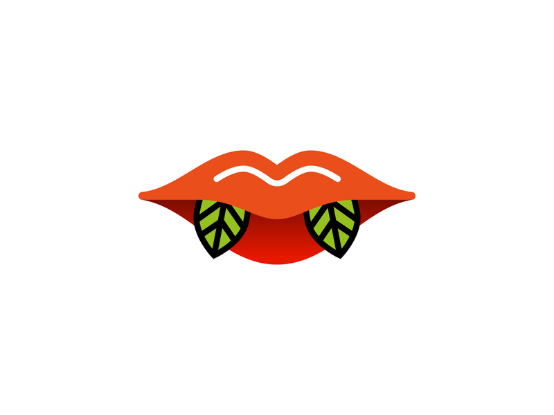 Vegan Vamp eat mouth healthy leafs vampire vamp vegan lips identity design minimal branding logo