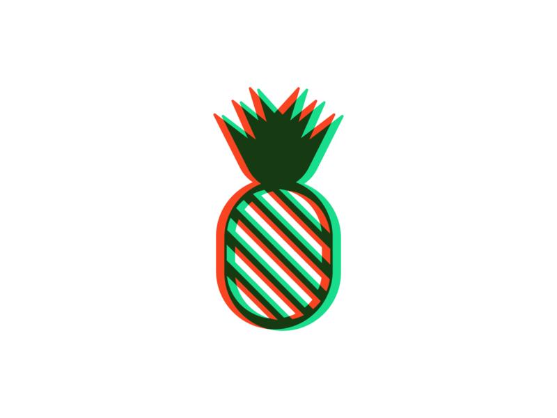 Pineapple glitch fruit symbol brand icon identity mark design branding logo pineapple