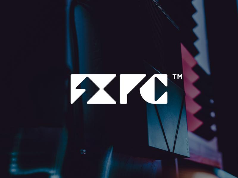 FXPC gaming logo games pc geometric custom gaming letter brand identity monogram mark design minimal branding logo