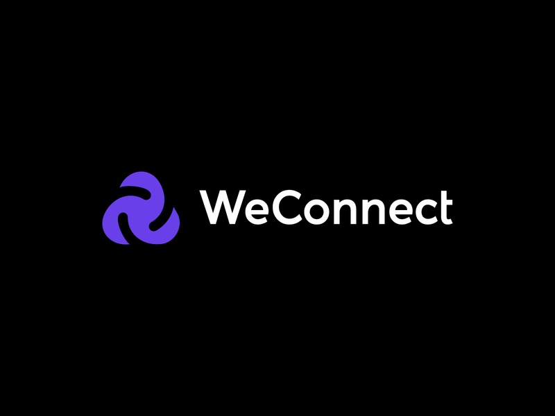 We together data connect hosting cloud startup symbol icon brand identity monogram design branding logo