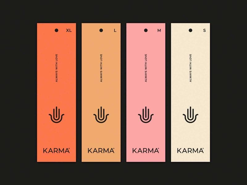 Karma tags clothing brand tags fashion karma hand logo labels branding brand