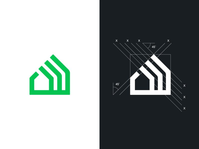 House mark real estate home startup symbol icon brand identity mark design minimal branding logo