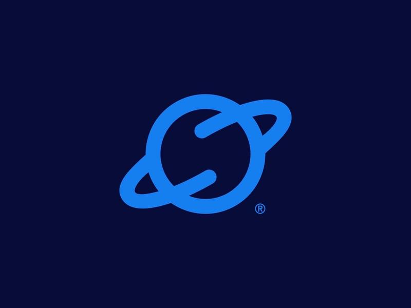 Planet startup symbol planet icon brand identity mark design minimal branding logo