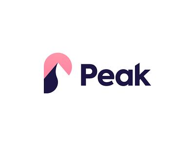 Peak smart tech negative space logo mountain peak startup icon brand monogram identity mark design minimal branding logo