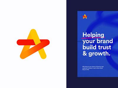Reviews dynamic review connect simple logo design a star startup icon monogram brand identity mark minimal design branding logo