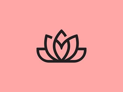Lotus heart flower logo lotus symbol startup icon brand identity mark minimal design branding logo