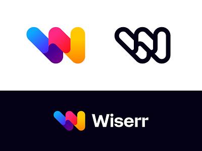 Wiserr geometic wise trips lettermark startup logo design monogram brand identity mark minimal design branding logo