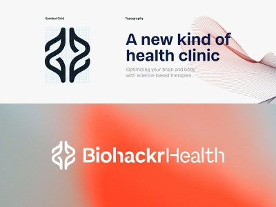 Biohackr Health health clinic biohacking startup mark icon monogram brand identity minimal design branding logo