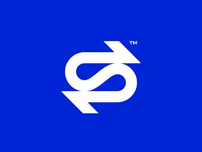 S Ambigram synergy flow arrows tech logo letter s ambigram symbol startup icon monogram brand identity mark minimal design branding logo