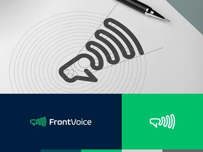 FrontVoice logo bulgaria chat communications tsanev mark logo employes megaphone voice front