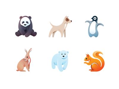 Luubra Animals Set minimal bear penguin dog panda cute custom bulgaria tsanev icons illustration animal