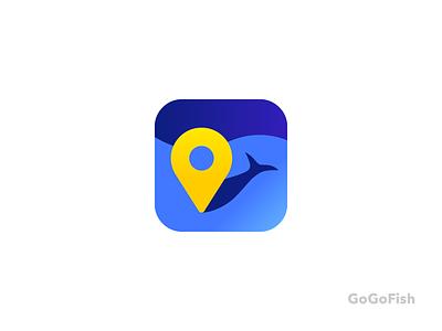 GoGoFish branding app fisherman water logo place pin fish