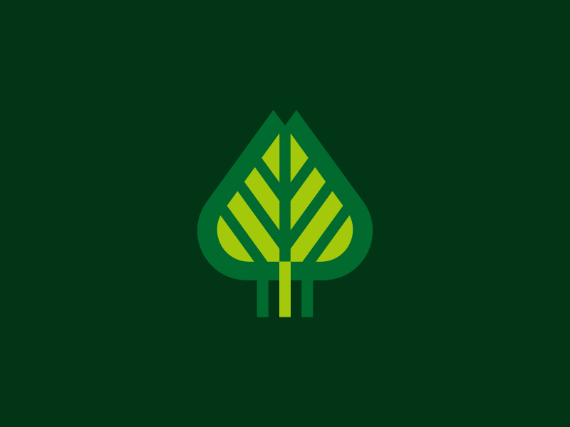 Forest mark leaf tree nature icon brand branding green logo forest