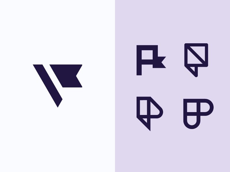 P Monograms perspective pin minimal flag branding exploration monogram logo p