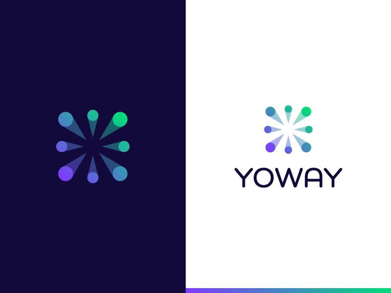Yoway logo design transaction money peers block chain crypto branding logo yoway decentralized financial