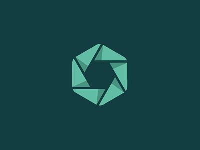 Shutter mark shadow branding o logo mark hexagon shutter