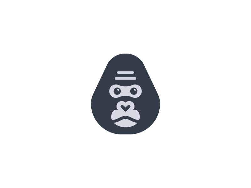 Gorilla head minimal symbol branding animal logo monkey gorilla
