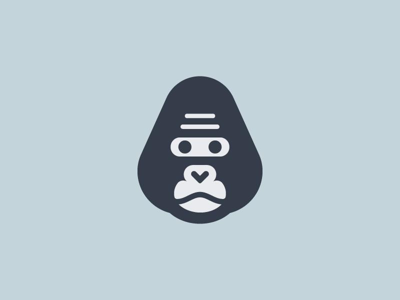 Gorilla branding minimal negative head monkey animal mark logo gorilla