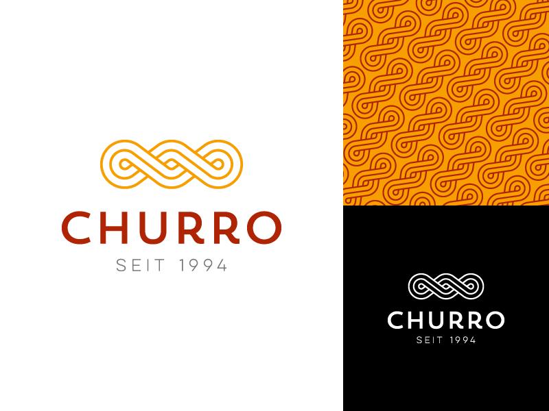 Churro logo design snack pastry food pattern branding design logo churros