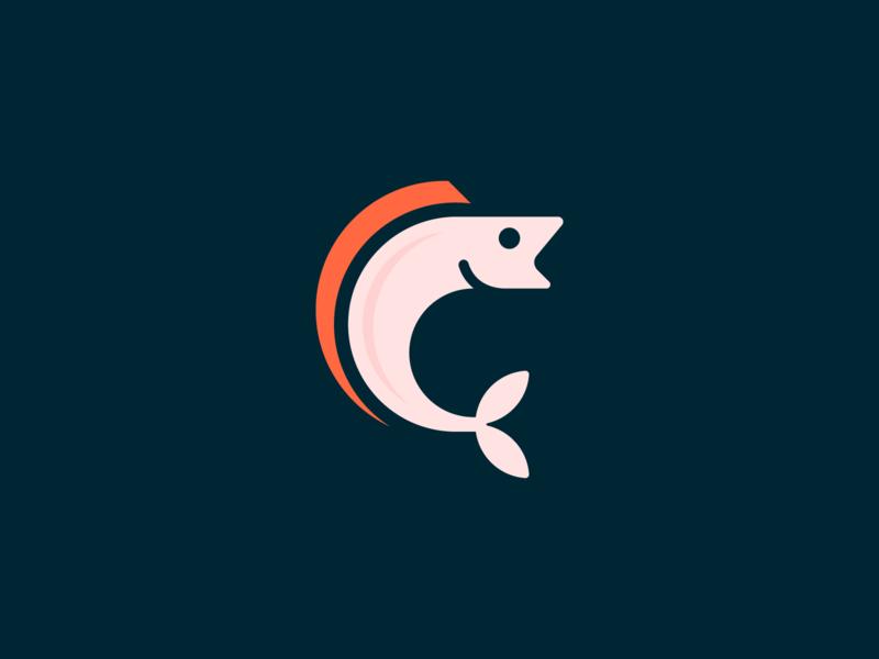 Fish mark water food animal river fisherman branding geometric design logo fish